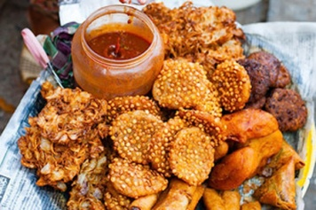 Deep-fried snacks for sale on the streets of Yangon.